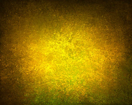 smeary: abstract yellow gold background brown border warm tone colors with sponge vintage grunge background texture, distressed rough smeary paint on wall, art canvas board, brochure ad, website template  Stock Photo