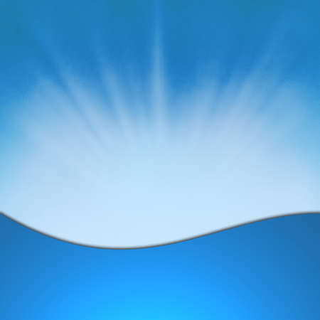 light sunrise concept, abstract blue background sunburst starburst effect on frame, sky blue banner or wave web design graphic image, God speaking from heaven concept, blue product packaging label photo