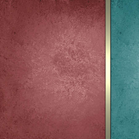 dark red and light blue green sidebar with gold ribbon, luxury formal background design, elegant website or brochure, sponge grunge vintage background texture, distressed old paint, graphic art layout  photo