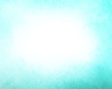 classic contrast: abstract blue background white cloud in sky concept or white center color splash for text blended into sky blue color with black bottom border, vintage grunge background texture design layout for web Stock Photo