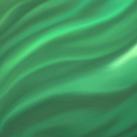 green background abstract cloth or liquid wave illustration of wavy folds of silk texture satin or velvet material or green luxurious Christmas background wallpaper design of elegant green material  illustration