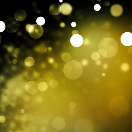 Beautiful gold bokeh background with black border and shimmering white Christmas lights or abstract falling snow  Festive party background  Fantasy night or magical background glitter sparkles  Stock Photo