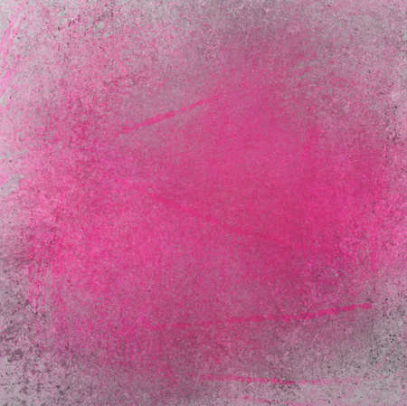 gray: hot pink background design layout, rough distressed texture grunge, abstract pink image with stains, brush strokes and bright paint color splash on gray grungy cement wall Stock Photo