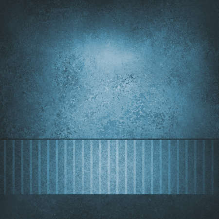 texture in aged solid blue background with pinstripe ribbon for web banner or footer design template, black vignette border with aged texture  photo
