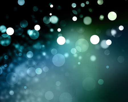Beautiful green blue bokeh background with black border and shimmering white Christmas lights