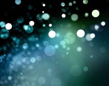 Światła: Piękne zielone tło niebieski bokeh z czarnym obramowaniem i błyszczących białych lampek choinkowych