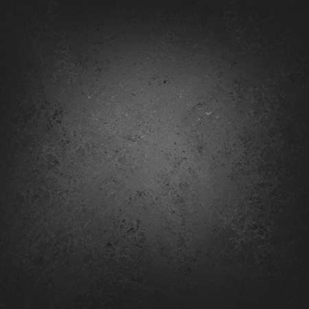 solid black background with gray center light, distressed vintage background texture design, black chalkboard Foto de archivo