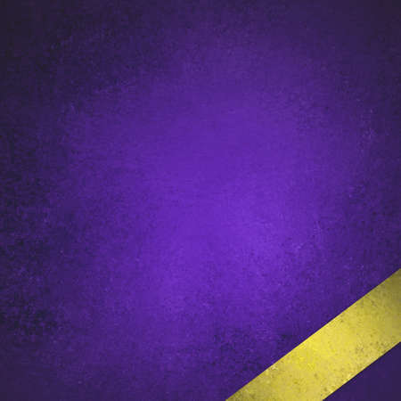 purple painted background illustration with blank luxurious shiny gold ribbon angled in bottom corner, old black border and distressed vintage texture illustration