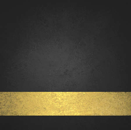 gold background: abstract black background or website background design layout of elegant old vintage grunge background texture wall with blank luxury gold ribbon wrap on bottom frame for brochure ad or web template
