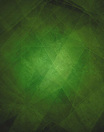 Abstract green background, modern geometric line designs and triangle diamond and square shape patterns with glass texture layout Banque d'images