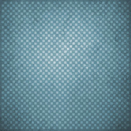 abstract blue background with white faint detailed checkerboard pattern of small squares in graphic design element, faded and distressed vintage texture