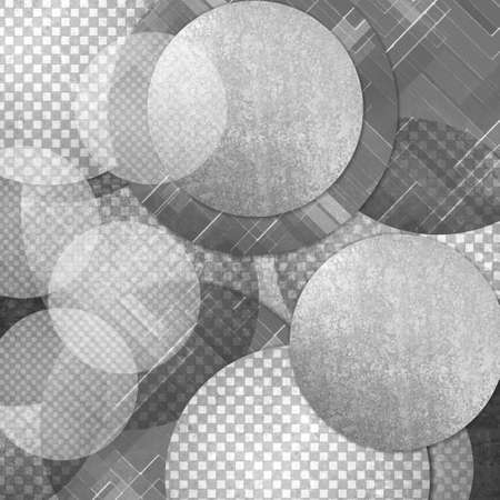 abstract black and white background, layers of gray and black circle shapes in random artistic pattern composition, white floating balls or bubbles design photo