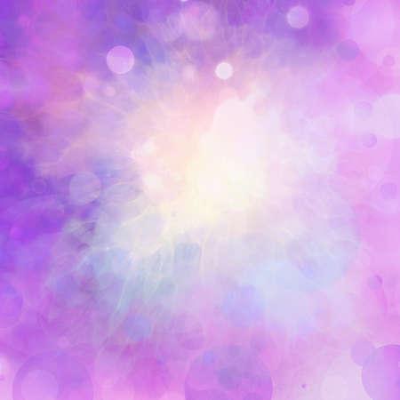 色のしぶきを白いセンターと紫のピンクの背景を抽象化し、丸いボケ サークル気泡空に浮かんでいます。 写真素材