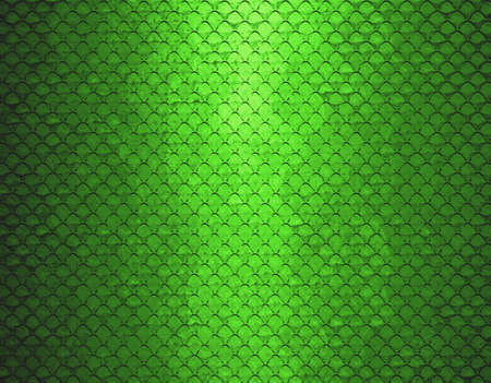 lime green background: abstract grid background texture pattern design, mesh grill background circle colored glossy shape metallic metal grill illustration, dark green background geometric structures, graphic art or website Stock Photo