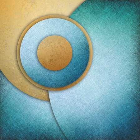 abstract blue gold background, layers of blue and gold circle shapes in artistic creative layouts with distressed vintage texture photo