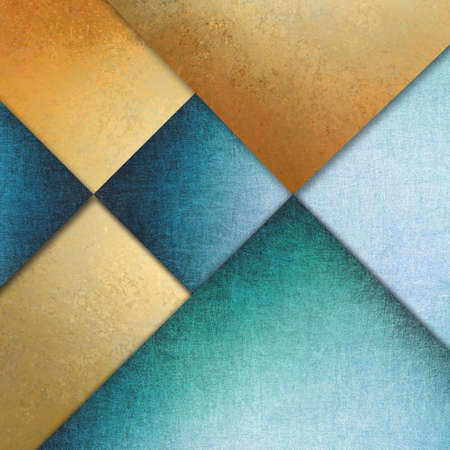 elegant blue gold background texture paper with abstract angles and diagonal shapes photo