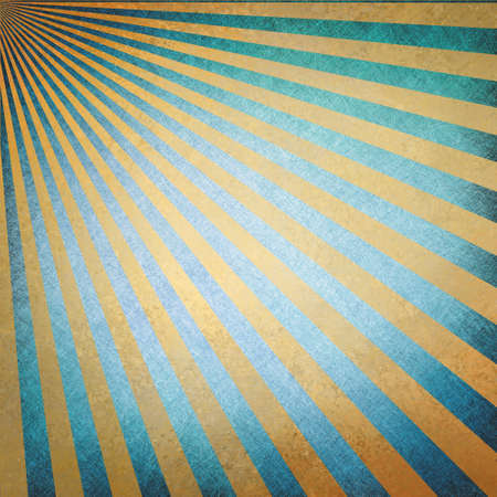 abstract blue gold sunburst background, retro vintage style sunbeam or rays in diagonal pattern design with texture photo