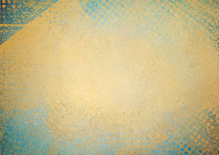 messy grunge gold background paper with textured abstract blue grid pattern border photo