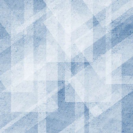 art materials: blue geometric background white abstract shapes design, graphic art angled line design elements or stripes Stock Photo