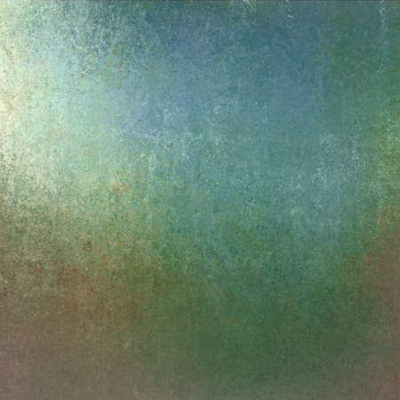old vintage background, blue green color and distressed old texture with bright spotlight corner design Standard-Bild