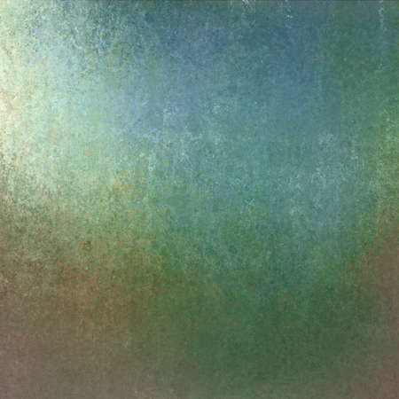 old vintage background, blue green color and distressed old texture with bright spotlight corner design Stock Photo