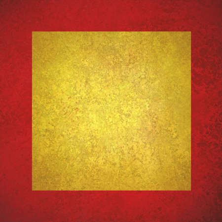 wall paint: elegant red gold background texture paper, faint rustic yellow square on red grunge border paint design, old distressed red gold wall paint Stock Photo