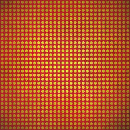 polka dotted: polca punteada fondo manchas de oro rojo de la vendimia en el papel rojo con tenue iluminaci�n del punto central y la angustia de textura