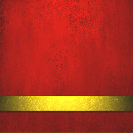 rich deep red background with elegant faded grunge background texture, luxury style, holiday gold ribbon stripe for red luxury Christmas background decoration web template design or brochure layout  photo