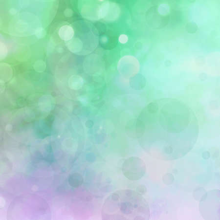 abstract colorful background, blurred bokeh lights on multicolored backdrop, floating round circle shapes or bubbles Stockfoto
