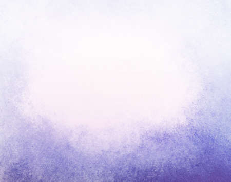 abstract faded purple background, gradient white into purple blue color, foggy top border and darker purple blue grunge texture bottom border Stock Photo