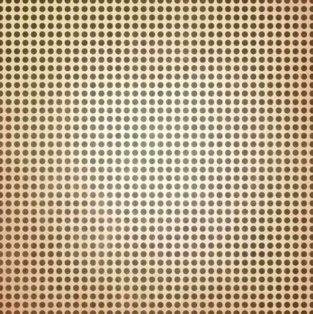 graphic backgrounds: vintage polka dotted brown background, brown spots on beige paper with faint white center spot lighting Stock Photo