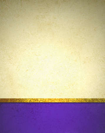 abstract gold background with purple footer and gold ribbon trim border, beautiful template background layout, luxury elegant gold paper with vintage grunge background texture design photo