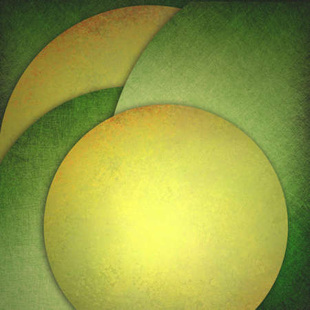 abstract green gold background, layers of green and gold circle shapes in artistic creative layouts with distressed texture photo