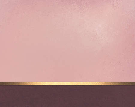 elegant pink background layout design with vintage parchment texture, gold shiny ribbon and dark burgundy stripe or footer