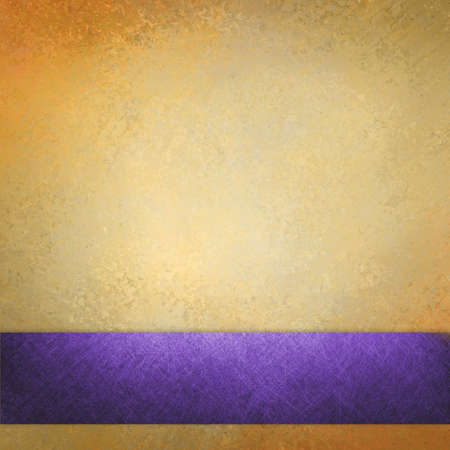 gold textured background: elegant gold background texture paper, faint rustic grunge purple ribbon paint design Stock Photo