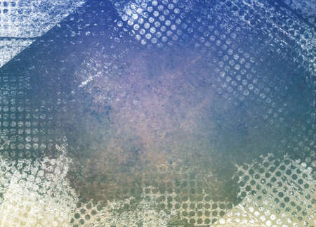 grid paper: messy grunge blue background paper with textured abstract white grid pattern border