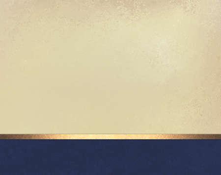 elegante: blanc design élégant fond beige de mise hors texture parchemin vintage, pied bleu foncé avec or brillant ruban stripe
