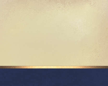 Elegante bianco disegno beige layout di sfondo con trama off pergamena d'epoca, piè di pagina blu scuro con nastro a strisce oro lucido Archivio Fotografico - 33334051