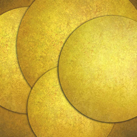 abstract gold background, layers of gold circle shapes in artistic creative layouts with distressed vintage texture photo