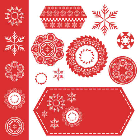 hexagonal shaped: red and white Christmas snowflake and ornament design patterns, round stamps and seals and hexagonal shaped labels with stitching. Snowflake set has fine detail filigree or fancy line design elements
