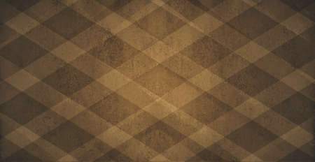 brighter: diagonal striped pattern background, light brown and dark brown diamond checkered design pattern with vintage distressed texture and faint vignette border and brighter center spot