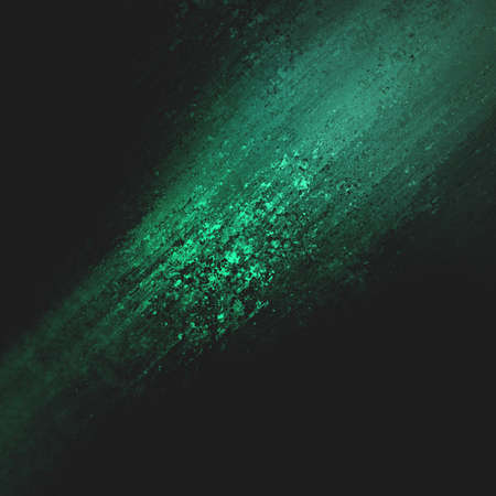 abstract green background design, rough black border with green streak or stream of bright light across dark contrasting black background, unique web design background or elegant brochure layout space