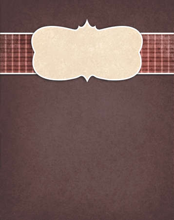 flannel: brown background with red plaid checkered country ribbon and beige blank curved frame design element, old distressed texture design Stock Photo