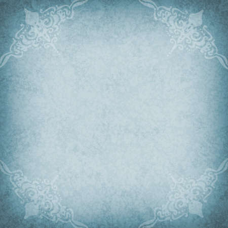 faint: blue background with faint delicate white vintage design in corner borders