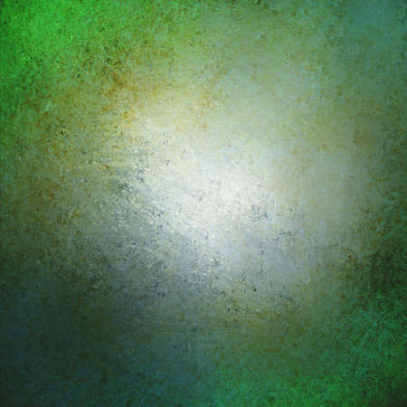 blank center: abstract green background design, border has dark green color edges of rough distressed vintage grunge texture with speckles of gold paint, pale soft opaque white center