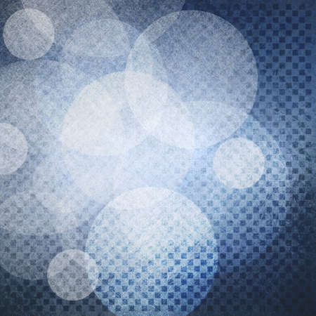 bright center: floating circles of white lights on blue background with block square pattern rows with dark border and bright center