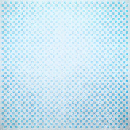 faint: abstract blue and white background with faint detailed checkerboard pattern of small squares in graphic design element, faded and distressed vintage texture Stock Photo