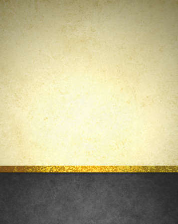 abstract gold background with black footer and gold ribbon trim border, beautiful template background layout, luxury elegant gold paper with vintage grunge background texture design Foto de archivo