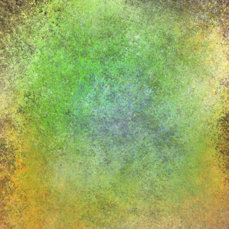 vintage paper texture grunge background in green blue and yellow with brown grungy border stains photo
