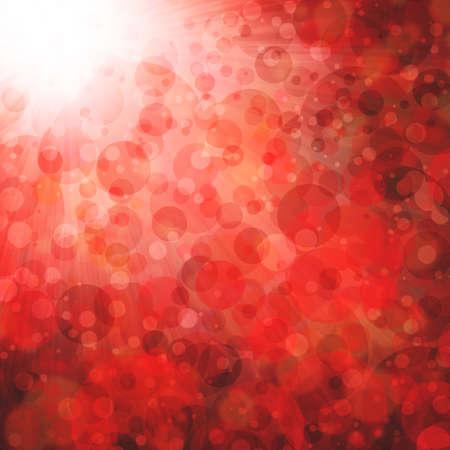 luces de fondo boken rojas, borrosa fuera de foco la caída de nieve o la lluvia en el cielo, las luces brillantes brillantes o formas de círculo, fondo de la burbuja flotante Foto de archivo